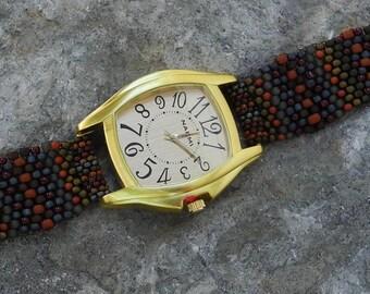 Father Time Big Gold - Free Form Peyote Stitch Beaded Watch  Bracelet