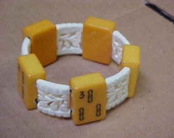 Bakelite Mah Jongg Bracelet Bam Tiles Carved Chinese Bone Spacers