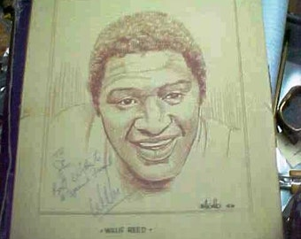 Willis Reed Drawing by Bill Gallo 1976 Autographed to Stan