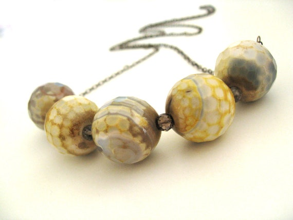 Mustard yellow grey necklace Fire agate June birthstone by Vitrine Designs Fall jewelry