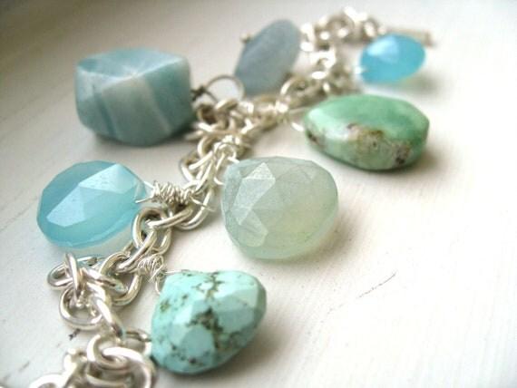 Blue gemstone bracelet Turquoise Chalcedony Aquamarine Opal Beach aqua by Vitrine Gift for her Under 100