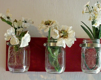 Flowers , Flowers & Flowers. Mason Jars, Shabby Deep Cherry Red Chic Cottage Rustic Shelf