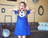 Retro  1960's style  Royal blue Layla dress... with bib and ruffle-children clothing