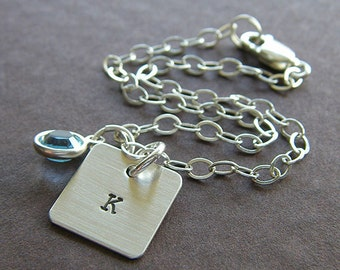 """Personalized Initial Bracelet - Custom Sterling Silver Hand Stamped Charm Jewelry - Single 1/2"""" Square Charm with Birthstone or Pearl"""