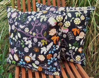 Two Black Floral Pillow Covers Made with Ikea Gunilla 16 x 16 Swedish Design Cotton Fabric Ready to Ship
