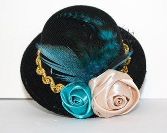 Stunning Couture Turquoise and Gold Mini Top Hat