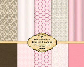 Pink and Brown Digital Paper pack for invites, card making, digital scrapbooking  (Banner 4)