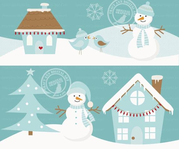 Items similar to Winter Scene Christmas Set, Snowman, Tree, House Clip ...