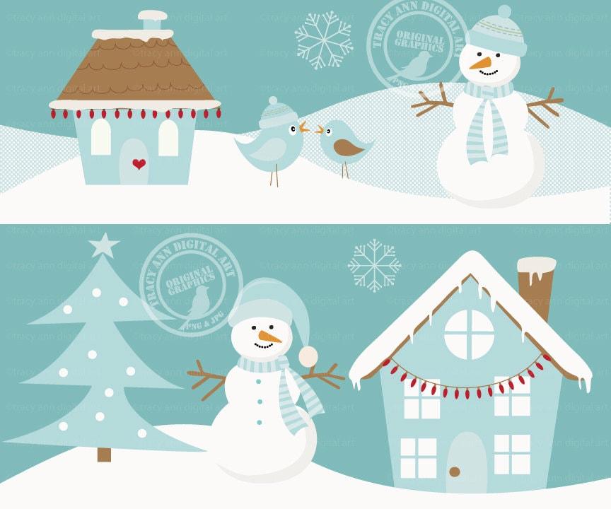 Winter Scene Christmas Set Snowman Tree by TracyAnnDigitalArt