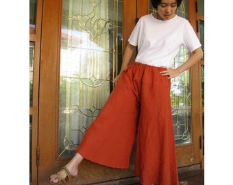 Boho Orange  Soft Cotton Wide Legs  drawstring waist Comfy Pants  ( W02)