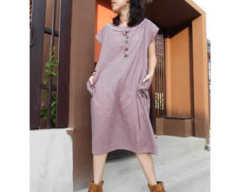 Custom Made Rosy Brown  Cotton   Boho Short Loose Buttons Tunic Dress (H)