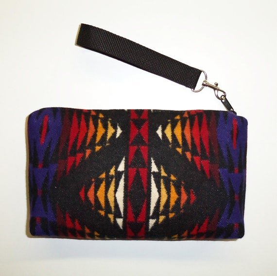 Purse Wrist Bag Clutch Bag Removable Strap Wool from Pendleton Oregon
