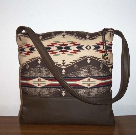 Pendleton Wool Purse Shoulder Bag Brown Leather Large
