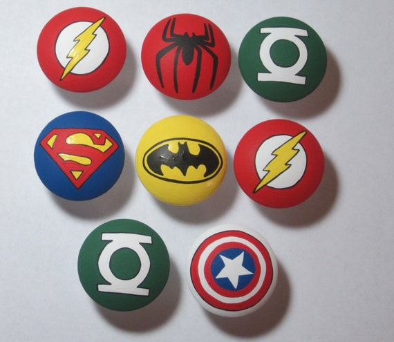 1 Hand Painted hero drawer pull dresser knob knobs please read description