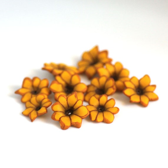 Sunflower Beads, Polymer Clay Flowers, Yellow Summer Beads, 10 pieces