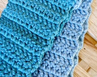 Thunderstorm - Handmade WOOL blend crocheted scarf
