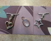 Vintage Charms Star, Heart, Scarab pendant trio