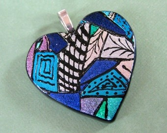 Heart Pendant, Large Colorful Heart, Hand Etched, One of a Kind Jewelry, Fused Glass - Honeyville - 3972 -2