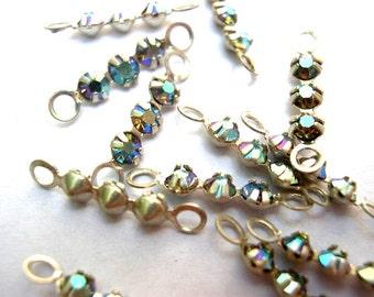 6 Vintage Swarovski crystal connector beads, 3 rhinestones in silver color metal setting- RARE