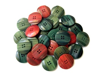 30 Vintage buttons red brown, blue green, green plastic 16mm