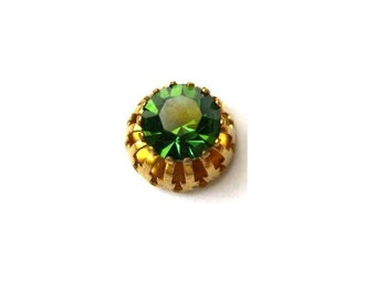 Swarovski cabochon, antique vintage green crystal cut 1100 mounted in brass setting