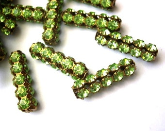 2 Vintage SWAROVSKI  beads light green rhinestones crystals in metal setting genuine 1100 made in Austria