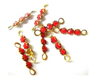 6 Vintage Swarovski crystal connector beads, 3 opaque red rhinestones in brass setting- RARE