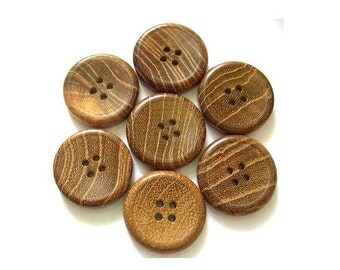 6 Buttons, wood,  vintage buttons, 23mm, suitable for children play