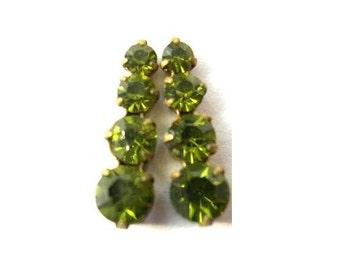 2 Swarovski vintage jewelry finding 4 rhinestone crystals in brass setting, green