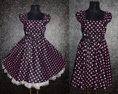 50s RockaBilly swinG Polka Dots DresS Pin Up 10 12 14 Black and Pink