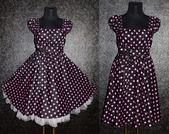 50s Rockabilly Swing Polka Dots Dress Pin Up US Plus Size 22 24 26 Black and Pink Christmas Halloween Party 4x