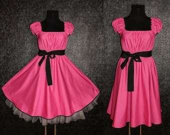 40s 50s RockaBilly Swing Lollipop Pink and Black Pin Up Dress US Plus Size 22 24 26 Summer Party 4x