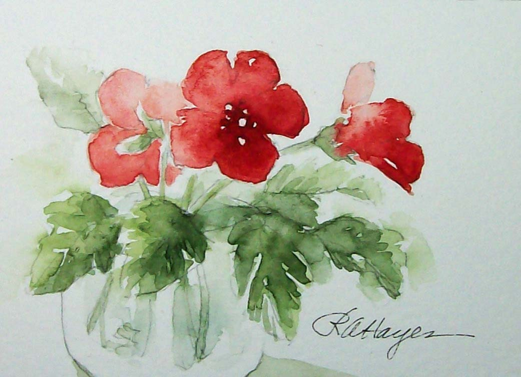 Red Flowers In Glass Jar Watercolor Painting Floral Original