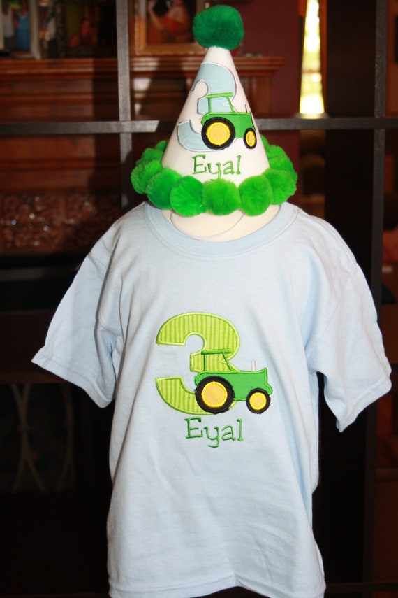 """Personalized Tractor Birthday Party Hat & T-shirt Set - """"On the Farm"""" - Name - Boy or Girl - Theme - Cake Smash - Party Decor"""