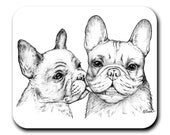 French Bulldogs - The French Kiss - Art Mouse Pad