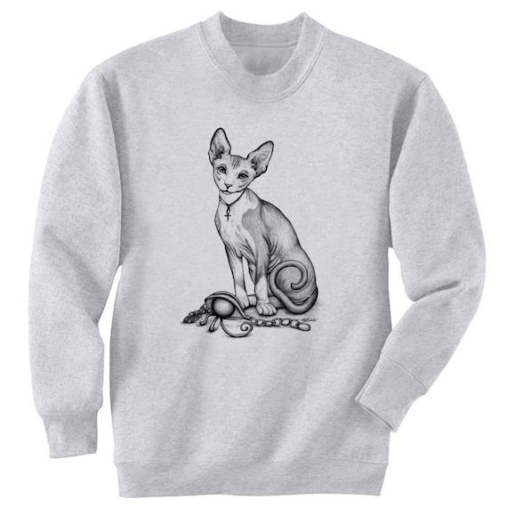 Sphynx Cat and Egyptian Eye of Ra Art Men's Sweatshirt Small - 2XL