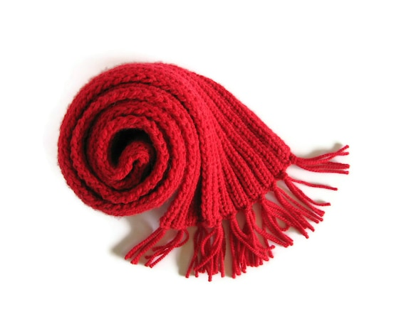 Red Chunky Scarf Knitted