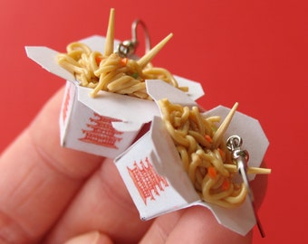 Chinese Take Out Earrings, Miniature Food Jewelry, Polymer Clay Food Earrings