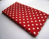 Polka Dots on Red - Apple Wireless Keyboard Sleeve - Padded and Zipper Closure