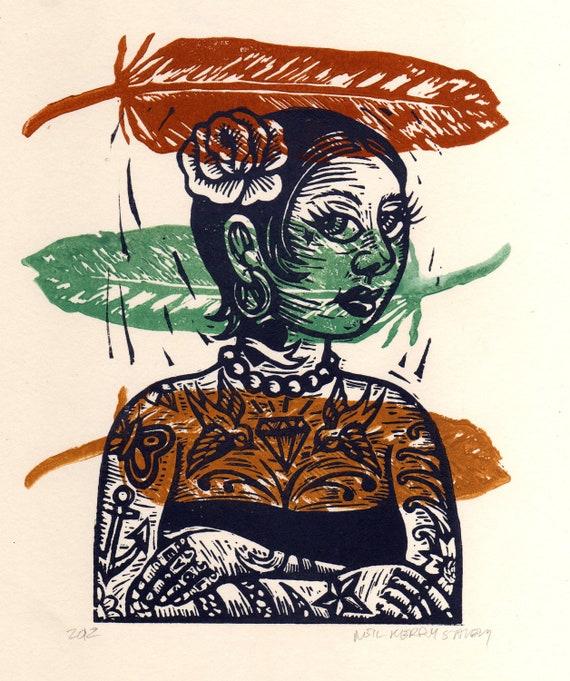 Feather over laid on Tattooed Lady Linocut Art Print