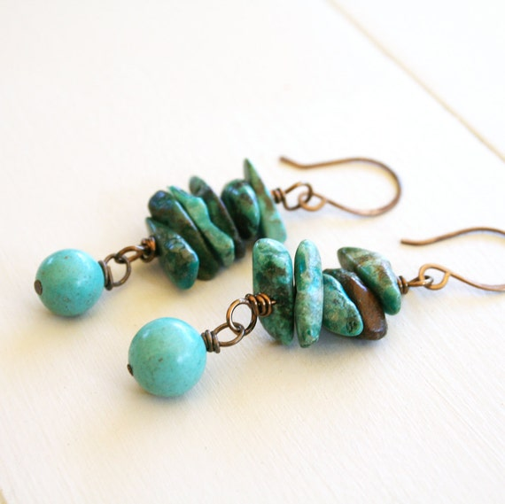 Ezriel Earrings -  Bright, Earthy Turquoise and Antique Brass Earrings