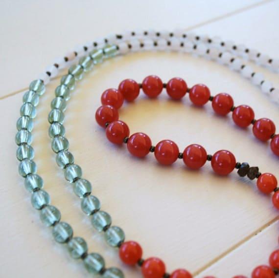 Fallon Necklace - Watermelon Jade, Ruby Jade, Pink Aventurine, Pale Green Glass