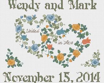 PERSONALIZED Wedding cross stitch pattern - PDF