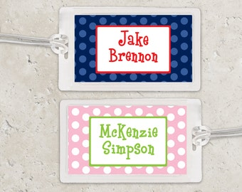 Kids Bag Tag Luggage Tag - Polka Dots - Pick your own colors