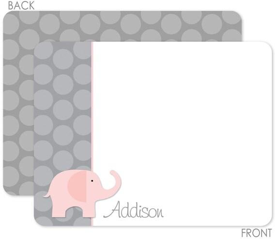Pink Elephant and Grey Polka Dots Flat Notecards
