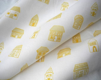 Yellow houses, fat quarter, cotton fabric, hand drawn, limited edition