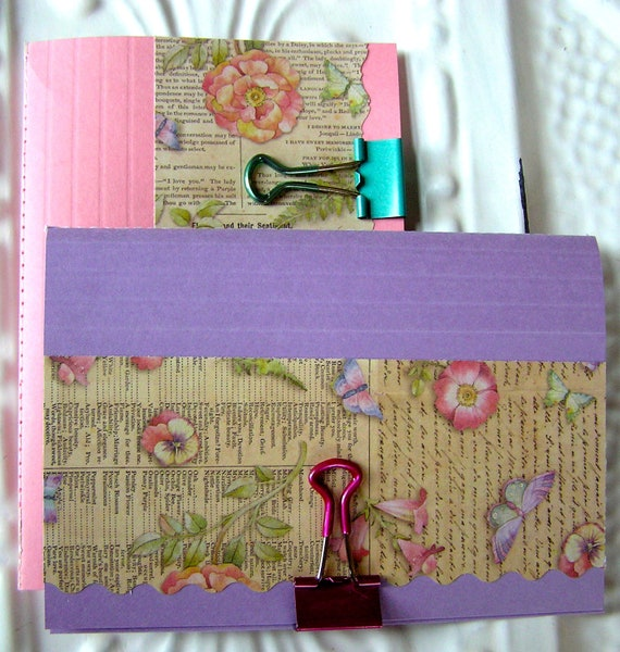 Recycled Journals - Palest Shell Pink and Light Lavender Hopes and Dreams Jotter Journals - Set of 2