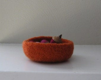 Felted Mini Bowl  in Pumpkin Orange - OOAK - In Stock - Ready to Ship - Acorns not Included - Harvest - Fall - Autumn