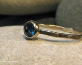 London Blue Topaz, 14k white gold stacking ring. Hammered, Rustic, Antiqued, Engraveable.