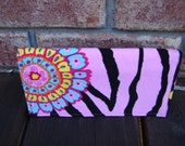 Pink zebra corduroy fabric checkbook cover
